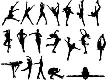 Figure silhouettes de patinage Photo stock