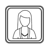 Figure silver emblem technical support woman assistant. Illustraction Stock Image