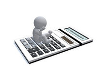 Figure sitting and thinking on calculator. On white background Stock Image