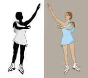 Figure Skater. Female figure skater in a blue dress with silhouette Royalty Free Stock Images