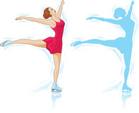 Figure Skater. And an outline of a skater Royalty Free Stock Photo