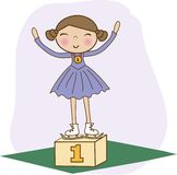 Figure skater 1st on the winner podium Royalty Free Stock Images