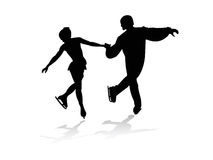 Figure skater. Silhouettes of men and women skating Stock Images