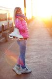 Figure skater girl on the bridge Stock Photos