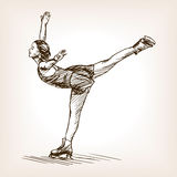 Figure skater girl sketch vector. Figure skater girl sketch style vector illustration. Old hand drawn engraving imitation Royalty Free Stock Images