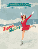 Figure skater girl vintage poster. Winter sport poster in retro style with figure skater girl and titles Stock Image
