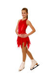 Figure Skater in Red. Smiling Figure Skater or Ice Dancer in Red Costume stock photography