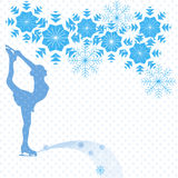 Figure skater and snowflakes. Ice skater on a white background and snowflakes Royalty Free Stock Photos
