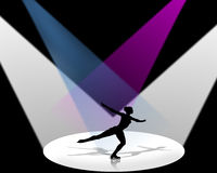 Figure Skater in Spotlight. Female Olympic Figure Skater silhouetted in Spotlights of white, blue and violet on black background sports illustration Stock Image
