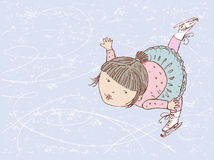 Figure skater. Vector drawing of a little figure skater in style of a sketch Stock Images