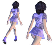 Figure Skater in Violet Dress Royalty Free Stock Photography