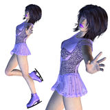 Figure Skater in Violet Dress Stock Photos