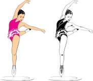 Figure skater. On the white. Illustration Stock Photos