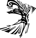 Figure Skater. Woodcut style expressionist image of a  Figure Skater Stock Photo