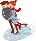 Figure skaters. Cartoon couple skating on ice rink in winter Stock Images