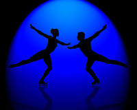 Figure Skaters Blue Spotlight. Male and female silhouetted figure ice skaters in blue spotlight Royalty Free Stock Photo