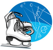 Figure skates. Pair of figure skates and skater Royalty Free Stock Photography