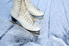 Figure skates on ice Royalty Free Stock Photography
