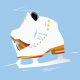 Figure skates. An illustration of pair of figure skates on the ice Stock Photos