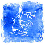 Figure skates on a watercolor background. Winter illustration with figure skates framed by snowflakes on a watercolor background Stock Photos