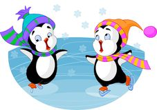 Figure-skating. Two cute penguins figure-skating Stock Photos