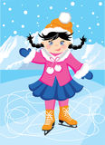 Figure skating. In the background of mountains. Cartoon girl in winter clothes for sports Stock Photography
