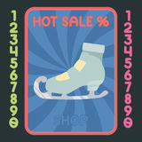 Figure-skating boot flat design icon. Vector hot sale label. Royalty Free Stock Image