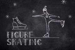 Figure skating chelk text. Ice figure skating sketch chalk text and boot on black board background Royalty Free Stock Photos