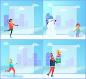 Figure-skating and Cityscape Vector Illustration. Figure-skating and cityscape with buildings and clouds above, filling form and girl standing beside snowman Royalty Free Stock Image