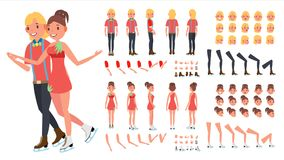 Figure Skating Couple Vector. Woman And Male. Ice Skating. Animated Character Creation Set. Full Length, Front, Side. Back View, Face Emotions, Gestures. Flat Stock Image