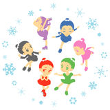 Figure skating. Cute girl figure skating set Royalty Free Stock Photo