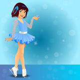 Figure skating cute girl. Very high quality original trendy vector illustration of figure skating cute girl in dress training on the ice Royalty Free Stock Photos