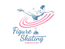 Figure Skating emblem illustration Stock Image
