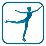 Figure skating emblem. Two color icon of the athlete.One of the pictogram from winter sports icons set. Vector illustration EPS-8 Stock Photos