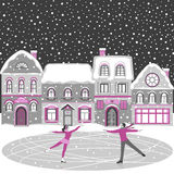 Figure skating greeting card. Winter snowy houses and romantic lovely dancing people. Black, grey and pink background. Vector illustration Stock Photo