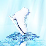 Figure skating on ice. Close up view of  The skates for figure skating  on skating rink ice Royalty Free Stock Photography