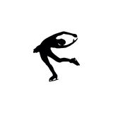 Figure skating individual, silhouettes. Black on the white background Stock Photos