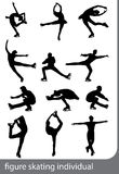Figure skating individual, silhouettes. Black on the white background Stock Photo