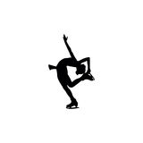 Figure skating individual, silhouettes. Black on the white background Royalty Free Stock Photography