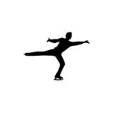 Figure skating individual, silhouettes. Black on the white background Stock Photography