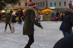 figure skating in januar winter afternoon stock image