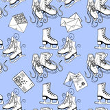 Figure skating and letters. Winter fun. Seamless pattern. Royalty Free Stock Image