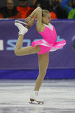 Figure skating pirouette. Figure skating - unknown female athlete performs during the European Youth Olympic Winter Festival, Brasov 2013 Stock Photography