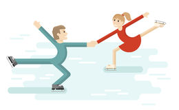 Figure skating romantic couple. Pair ice dance on  rink.  . Vector illustration Stock Photos