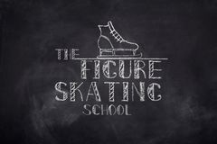 Figure skating school chelk text. Ice figure skating school sketch chalk text and boot on black board background Royalty Free Stock Photo