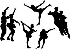 Figure skating silhouettes. On white background Royalty Free Stock Photos