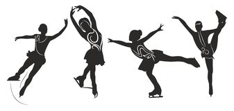 Figure skating. Silhouettes of women (figure skating Stock Photography