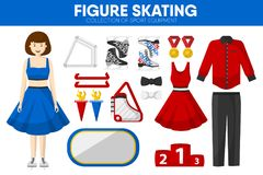 Figure skating sport equipment skater clothing garment accessory vector icons set. Figure skating sport equipment and skater woman clothing garment and Royalty Free Stock Photography