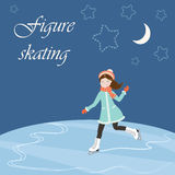 Figure skating with text Royalty Free Stock Image