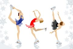 Figure Skating,three women. Vector illustration of Figure Skating,three women Stock Image
